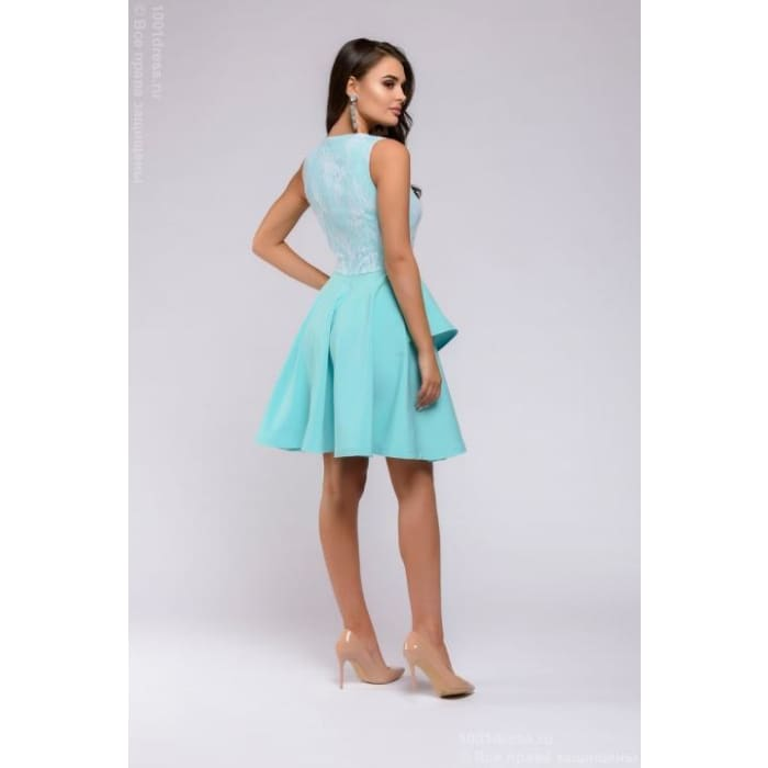 Dress DM00662TY length mini with lace top; color: tiffany