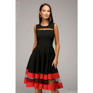 Dress DM00843BK Black sleeveless dress with red trim