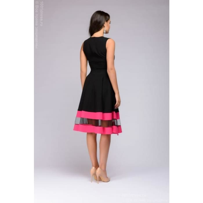 Dress DM00843FA black sleeveless with fuchsia