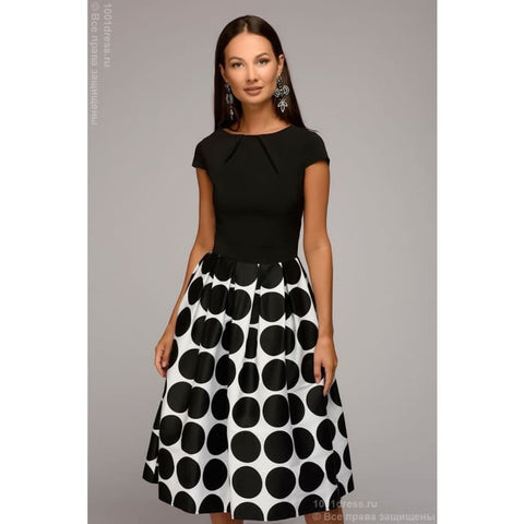 Dress DM00930BK midi length with short sleeves and a print on the skirt; black color