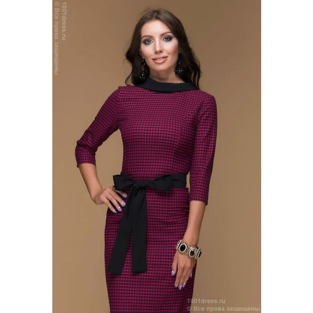 Dress length MIDI DM00302FA a houndstooth fuchsia with V-neckline on the back