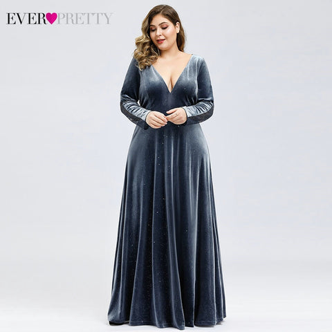 Plus Size Velour Prom Dresses Ever Pretty Deep V Neck A Line Long Sleeve Sexy Lace Back Formal Party Gowns Vestidos De Gala