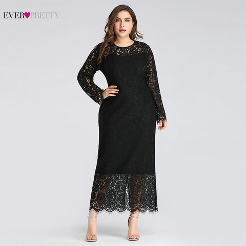 Little Black Evening Dresses 2019 Ever Pretty A line Long Sleeve Ankle Length Full Lace Black Mermaid Sexy Wedding Guest Gowns