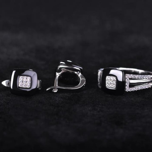Earrings Ring Set Chinese Porcelain Women Wedding Jewelry Sets Black Rhodium Plated / 7 Jewelry Sets
