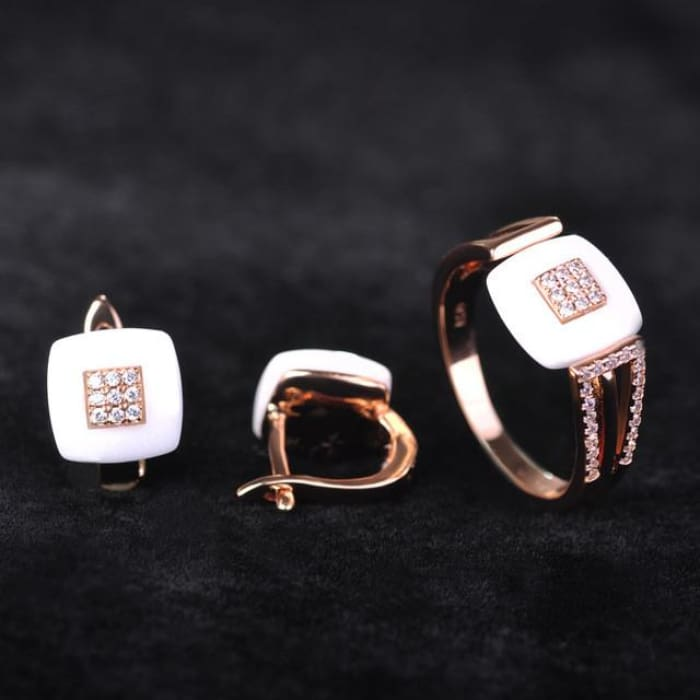 Earrings Ring Set Chinese Porcelain Women Wedding Jewelry Sets White18K Gold Plated / 7 Jewelry Sets
