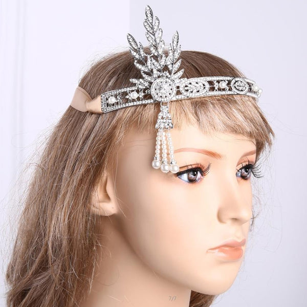 Silver 20s Headpiece Vintage 1920s Headband Flapper Great Gatsby Jewelry Accessories