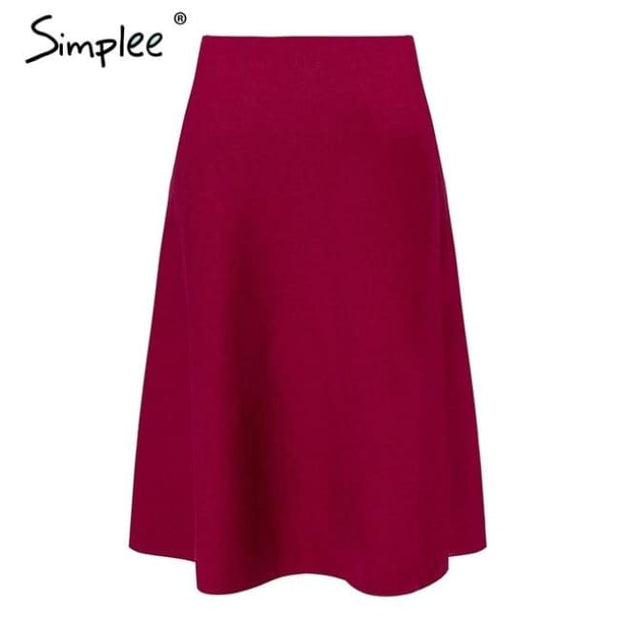 Elegant A-Line Knitted Women Skirt Fashion Wine Red / S