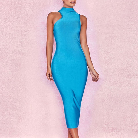 Elegant Bandage Dress Blue High Neck Sexy Bodycon Bandage Midi Dress
