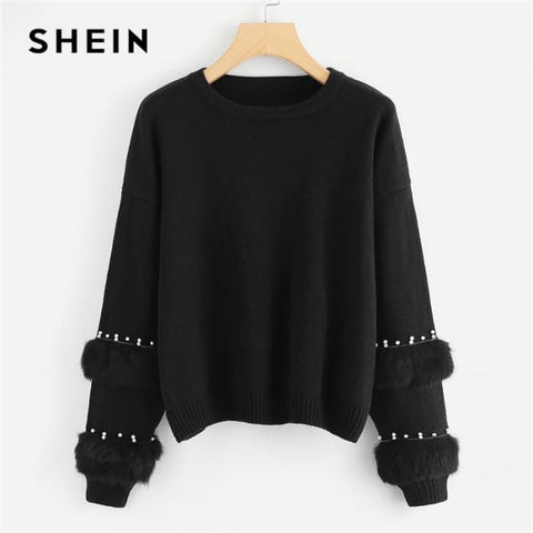 Elegant Pearl Beading Faux Fur Detail O-Neck Pullovers Jumper Sweaters