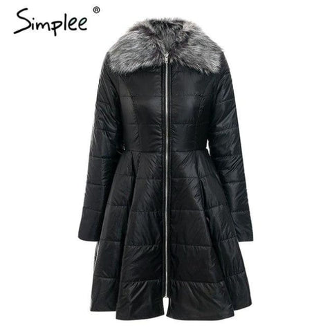 Elegant Peplum Satin Women Parka Coat Black / S