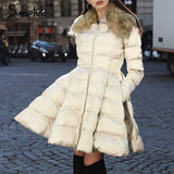 Elegant Peplum Satin Women Parka Coat