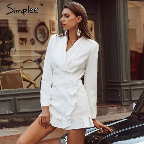 Elegant Ruffle Double Breasted Long Women Coat Vintage Casual White Autumn Winter Slim Suit Ladies
