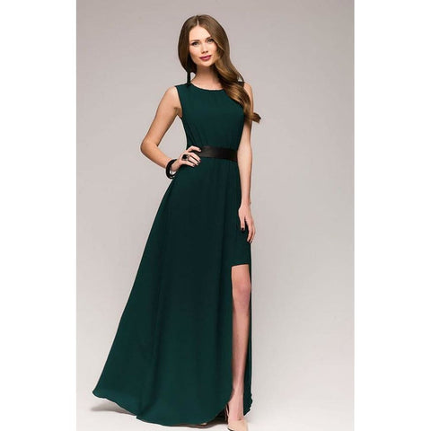 Emerald Green Maxi Dress.summer Dress Chiffon.sleeveless Dress Party.