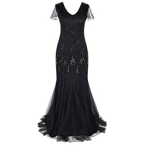 Evening Dress 1920S Flapper Cocktail Mermaid Plus Size Formal Gown 6/8 / Black