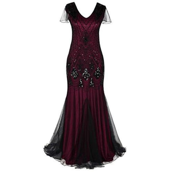 Evening Dress 1920S Flapper Cocktail Mermaid Plus Size Formal Gown 6/8 / Burgundy