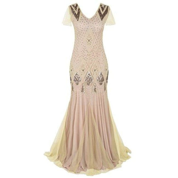 Evening Dress 1920S Flapper Cocktail Mermaid Plus Size Formal Gown 6/8 / Champagne Pink