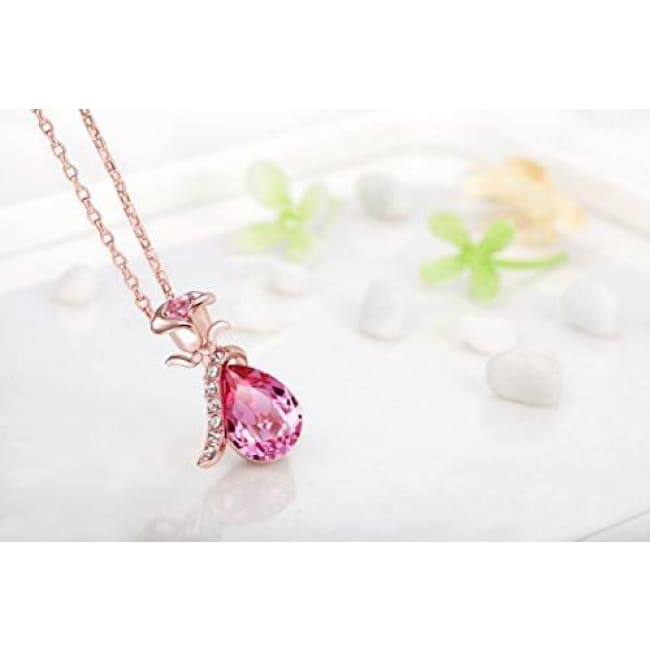 Fappac 18K Rose Gold Plated Pink Teardrop Crystals From Swarovski Flower Pendant Necklace 15.5+2 Ext Fashion