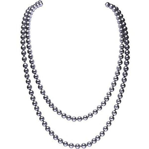 Fashion Faux Pearls Flapper Beads Cluster Long Pearl Necklace 55 Grey Necklaces