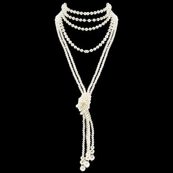 Fashion Faux Pearls Flapper Beads Cluster Long Pearl Necklace 55 Knot Pearl Necklace*2 + 59 Necklace*1 Necklaces