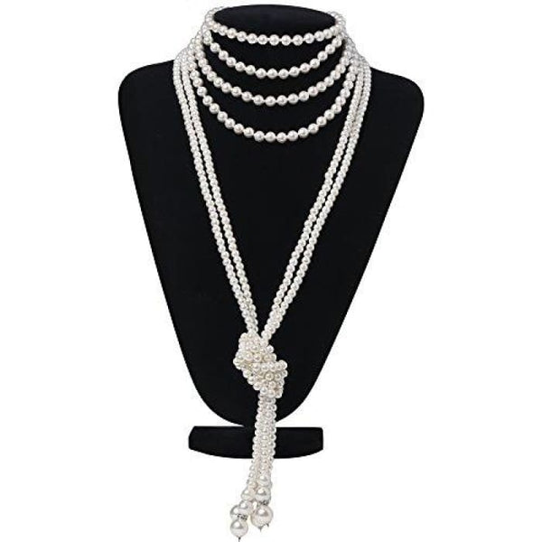 Fashion Faux Pearls Flapper Beads Cluster Long Pearl Necklace 55 Necklaces