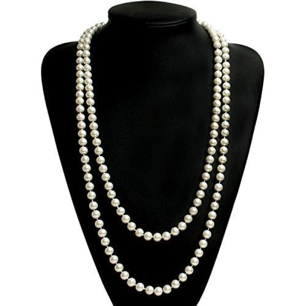 Fashion Faux Pearls Flapper Beads Cluster Long Pearl Necklace 55 White Necklaces