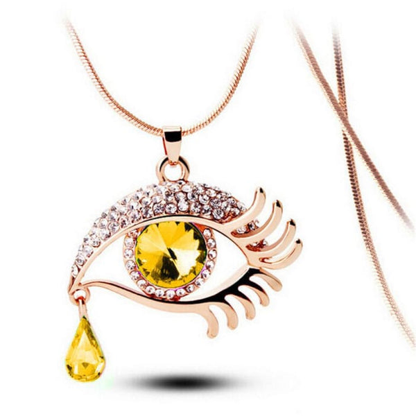 Fashion Magic Eye Crystal Tear Drop Eyelashes Necklace Long Sweater Chain B