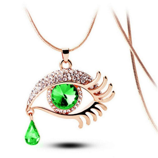 Fashion Magic Eye Crystal Tear Drop Eyelashes Necklace Long Sweater Chain C