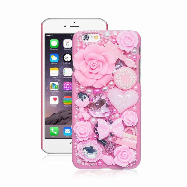Fashion Pearl Crystal 3D Case For Iphone 6 5 5S 5C 6 Plus Hard Cover Phone Cases For Apple Iphone 6S Case Accessories Protector Pink / For