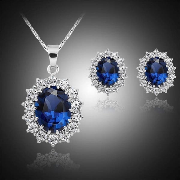 Fashion Silver Filled Blue Sapphire Crystal Christmas Jewelry Sets Snowflake Necklace Earrings (Color: Blue)