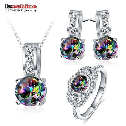 Fashion Wedding Jewelry Sets Silver Color Shining Rainbow Cubic Zirconia Jewelry Sets