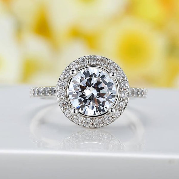 Fashion White Gold Color Ring With Carat Cz Luxury Wedding Engagement Ring Rings