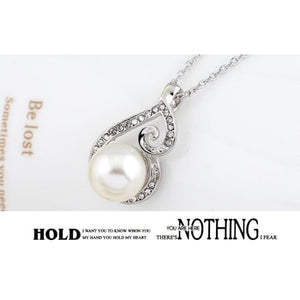 Fashion White Pearl Jewelry Sets Rhinestone Necklace Earrings Jewelry Set For Women (Color: White)