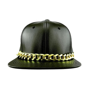Faux Leather Snapback Hat With Gold Chain Women - Accessories - Hats