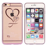 Fdm Transparent Plated Frame Slim Phone Case For Iphone 6 6S Diamante Heart Printed Ultra Thin Phone Cover For Iphone 6 6S Plus Phone Bags &
