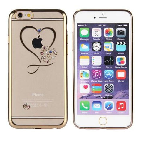 Fdm Transparent Plated Frame Slim Phone Case For Iphone 6 6S Diamante Heart Printed Ultra Thin Phone Cover For Iphone 6 6S Plus Gold / For