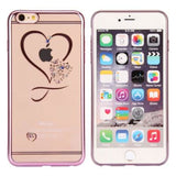 Fdm Transparent Plated Frame Slim Phone Case For Iphone 6 6S Diamante Heart Printed Ultra Thin Phone Cover For Iphone 6 6S Plus Rose Gold /