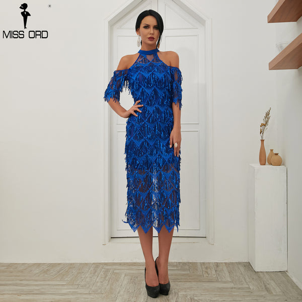 Missord 2019 Sexy High Neck Tassel Sequin Short Sleeve Dress Female Split Elegant Party Dress Vestdios FT18456