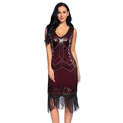 Flapper Dresses 1920S Gatsby V Neck Sequin Fringed Dress Back To Results