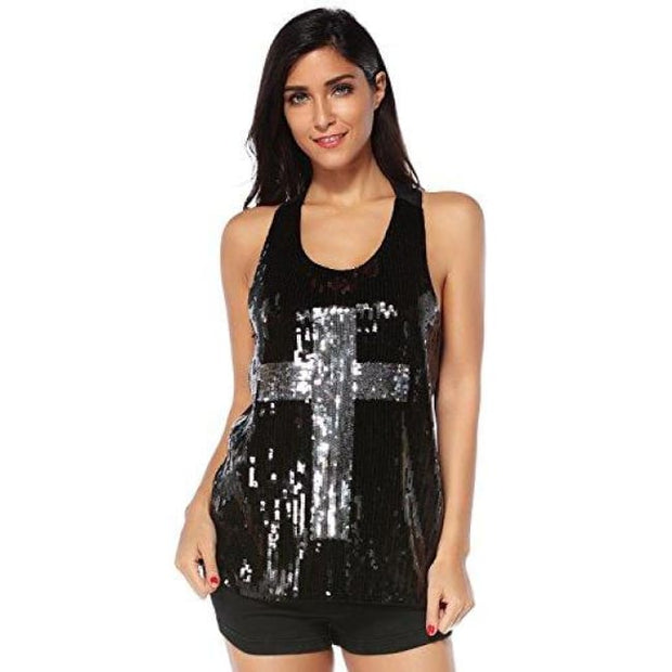 Flapper Girl Glam Sequins Cross Tank Top Vest Nightclub Camisole Vest Shirt Small / Black Back To Flapper Girl Store