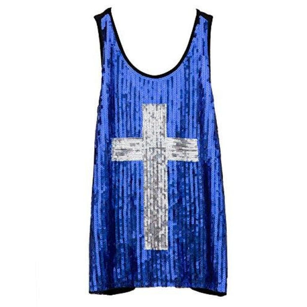 Flapper Girl Glam Sequins Cross Tank Top Vest Nightclub Camisole Vest Shirt Small / Blue Back To Flapper Girl Store