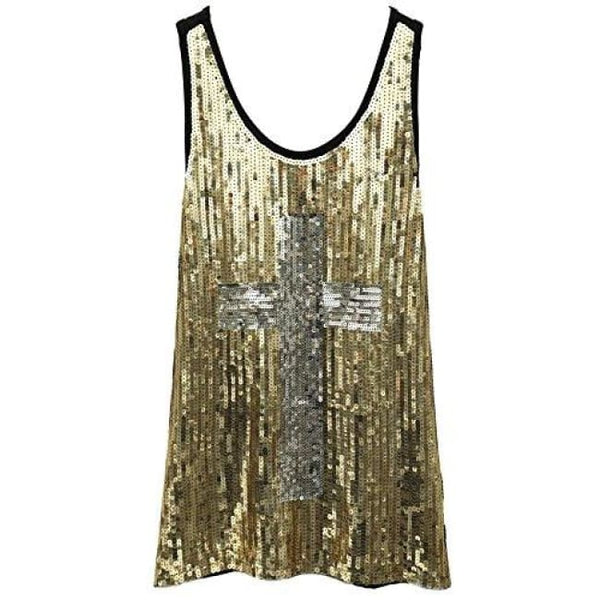 Flapper Girl Glam Sequins Cross Tank Top Vest Nightclub Camisole Vest Shirt Small / Gold Back To Flapper Girl Store
