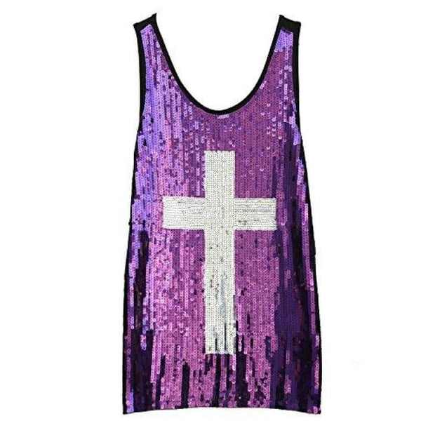 Flapper Girl Glam Sequins Cross Tank Top Vest Nightclub Camisole Vest Shirt Small / Purple Back To Flapper Girl Store