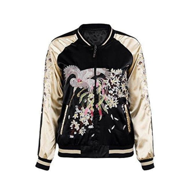ab288d75d Floral Embroidery Satin Bomber Jacket
