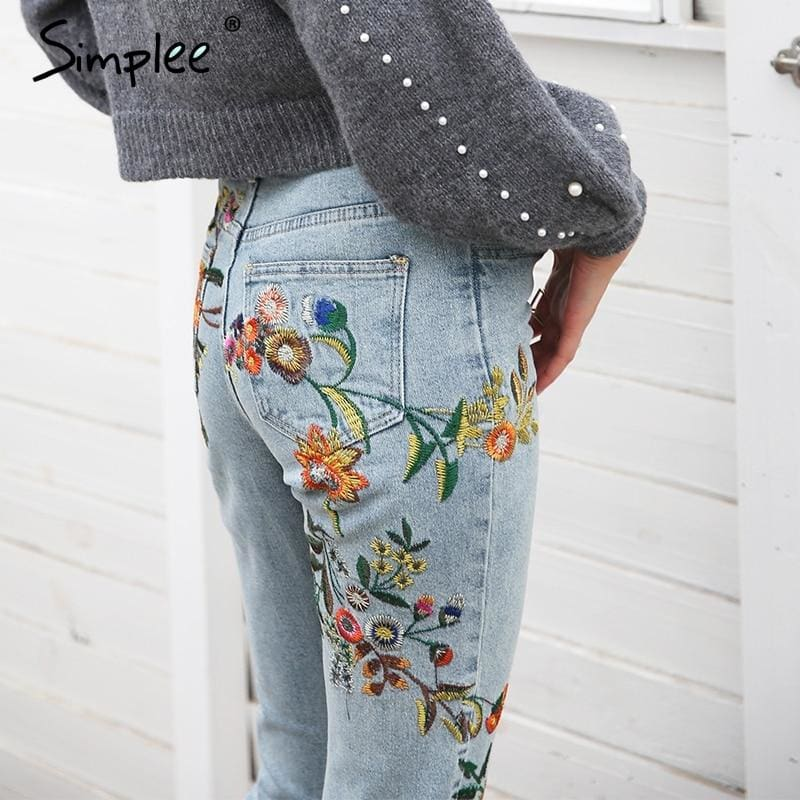 Floral Embroidery Women Jeans Pants Casual High Waist Jeans