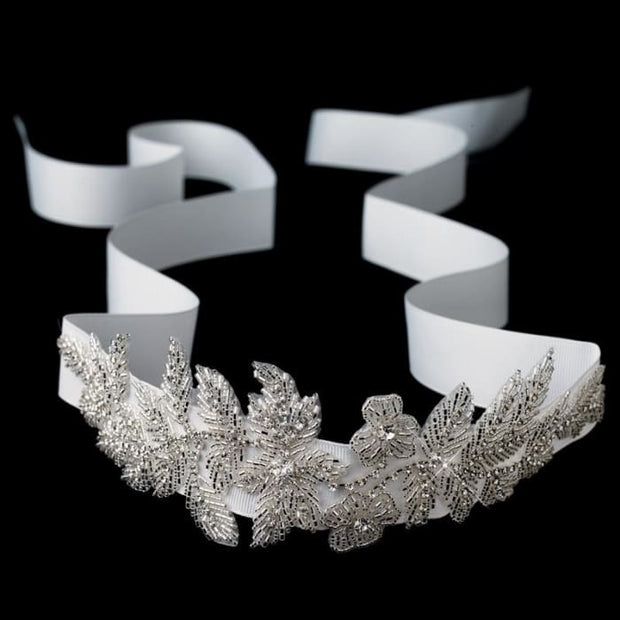 Floral Leaf Sash Belt/headband With Silver Bugle Beads & Rhinestones Ivory Ribbon All Closeout Items