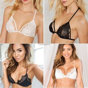 6ccb3830f71 Floral Sheer Lace Triangle Bralette Bra Crop Top Bustier Unpadded Mesh  Lined Bras   Bra Sets