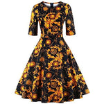 Floral Vintage Women Dresses Half Sleeve 1950S Small / Gold