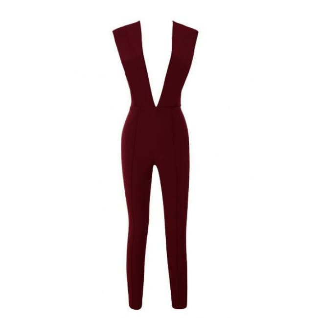 Free Shipping New Arrivals 2016 Gray Deep V Fitted Sexy Bodycon Jumpsuit Nightclub Women Blue Burgunday Rosy 10 Colors Available Burgundy /