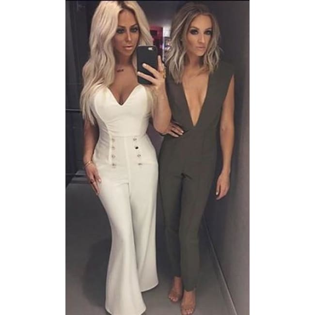 Free Shipping New Arrivals 2016 Gray Deep V Fitted Sexy Bodycon Jumpsuit Nightclub Women Blue Burgunday Rosy 10 Colors Available Jumpsuits
