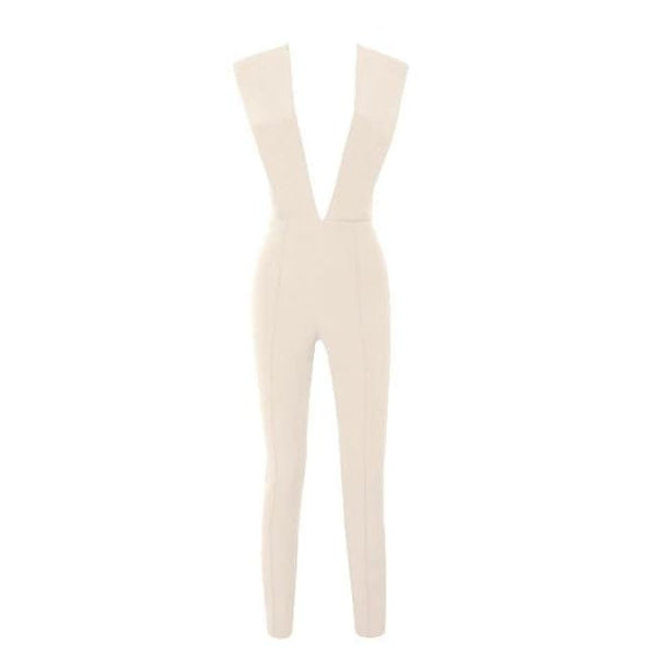 Free Shipping New Arrivals 2016 Gray Deep V Fitted Sexy Bodycon Jumpsuit Nightclub Women Blue Burgunday Rosy 10 Colors Available Nude / Xs